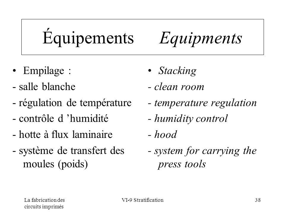 Équipements Equipments