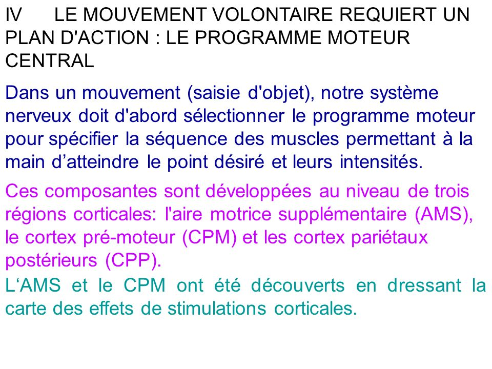 IV LE MOUVEMENT VOLONTAIRE REQUIERT UN PLAN D ACTION : LE PROGRAMME MOTEUR CENTRAL