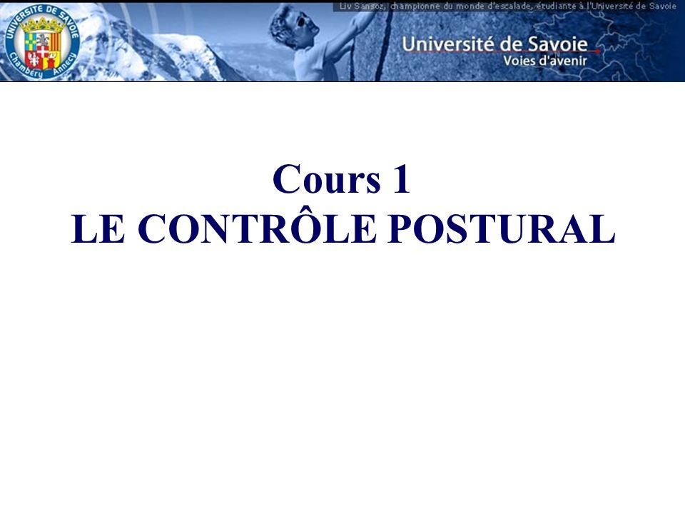 Cours 1 LE CONTRÔLE POSTURAL