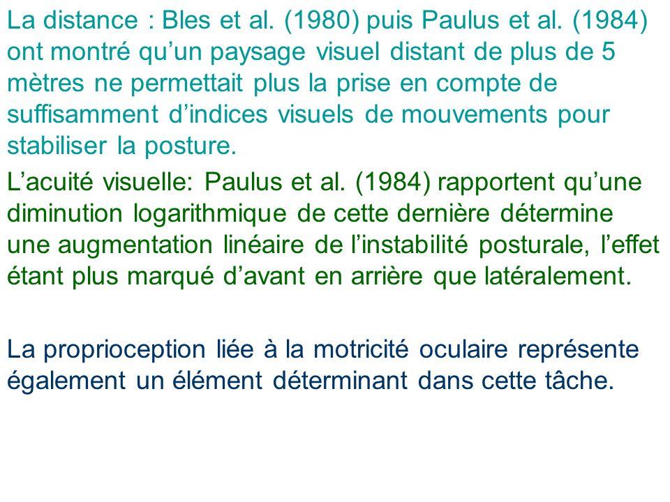 La distance : Bles et al. (1980) puis Paulus et al