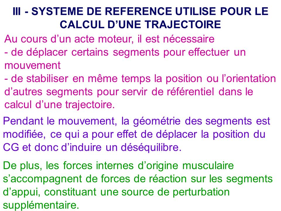 III - SYSTEME DE REFERENCE UTILISE POUR LE CALCUL D'UNE TRAJECTOIRE