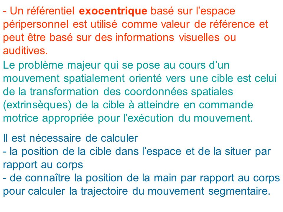 - Un référentiel exocentrique basé sur l'espace péripersonnel est utilisé comme valeur de référence et peut être basé sur des informations visuelles ou auditives.
