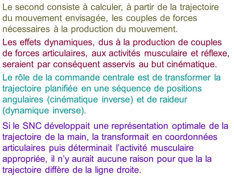 Le second consiste à calculer, à partir de la trajectoire du mouvement envisagée, les couples de forces nécessaires à la production du mouvement.