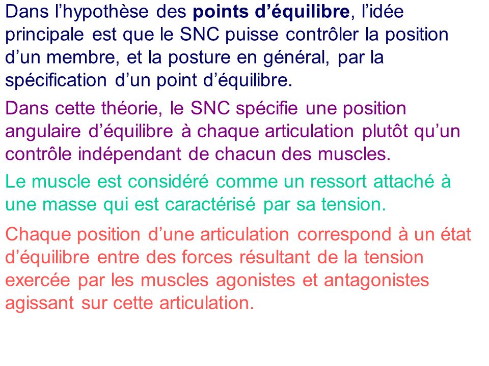 Dans l'hypothèse des points d'équilibre, l'idée principale est que le SNC puisse contrôler la position d'un membre, et la posture en général, par la spécification d'un point d'équilibre.