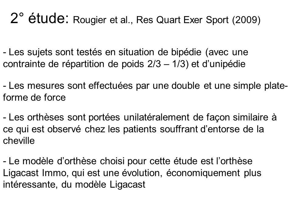 2° étude: Rougier et al., Res Quart Exer Sport (2009)