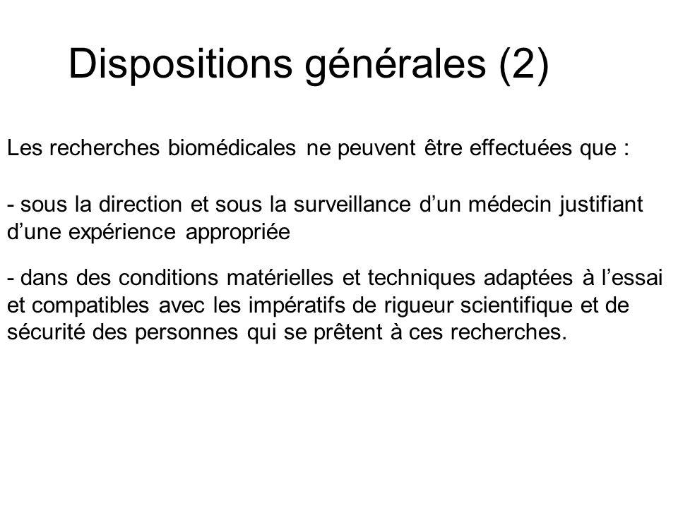 Dispositions générales (2)