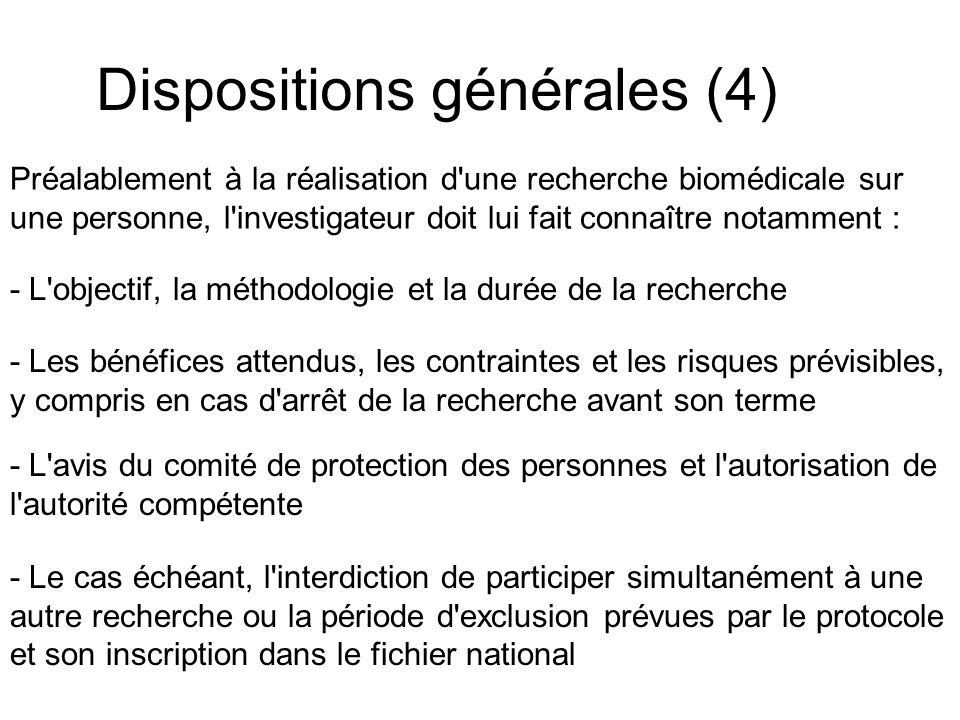 Dispositions générales (4)