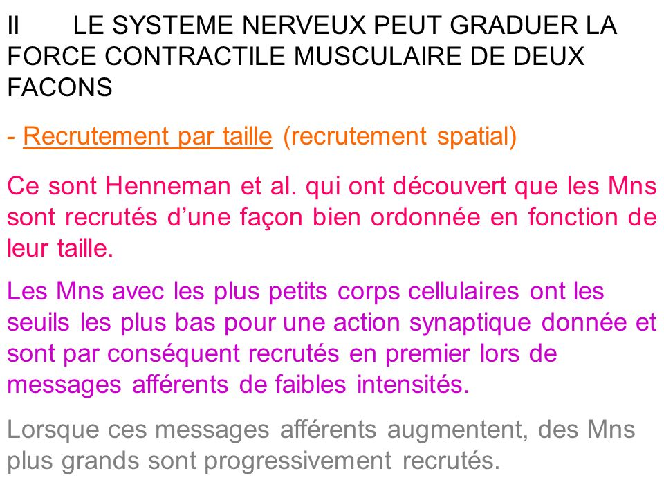 II LE SYSTEME NERVEUX PEUT GRADUER LA FORCE CONTRACTILE MUSCULAIRE DE DEUX FACONS