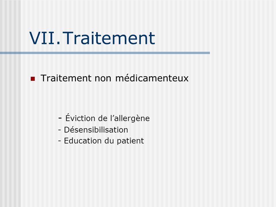 Traitement Traitement non médicamenteux - Éviction de l'allergène