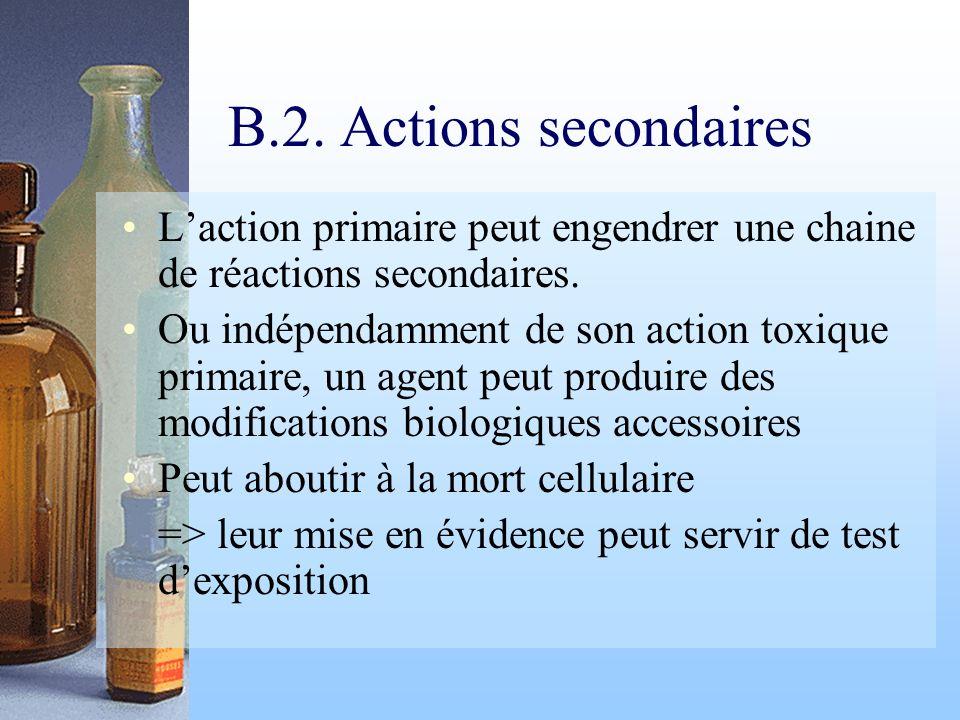 B.2. Actions secondaires L'action primaire peut engendrer une chaine de réactions secondaires.