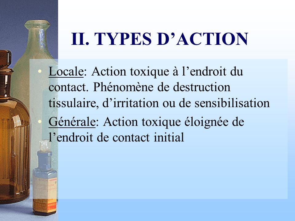 II. TYPES D'ACTIONLocale: Action toxique à l'endroit du contact. Phénomène de destruction tissulaire, d'irritation ou de sensibilisation.