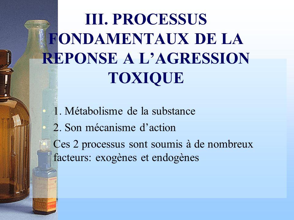 III. PROCESSUS FONDAMENTAUX DE LA REPONSE A L'AGRESSION TOXIQUE