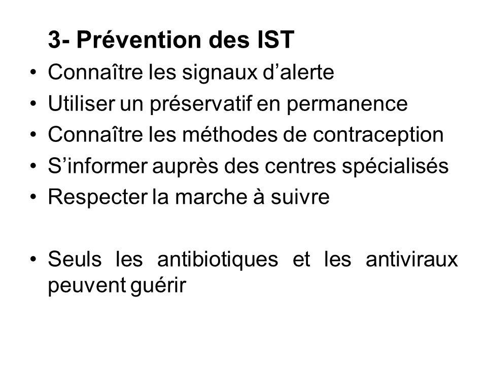 3- Prévention des IST Connaître les signaux d'alerte. Utiliser un préservatif en permanence. Connaître les méthodes de contraception.