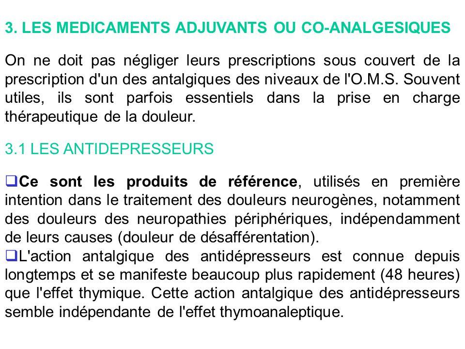 3. LES MEDICAMENTS ADJUVANTS OU CO-ANALGESIQUES