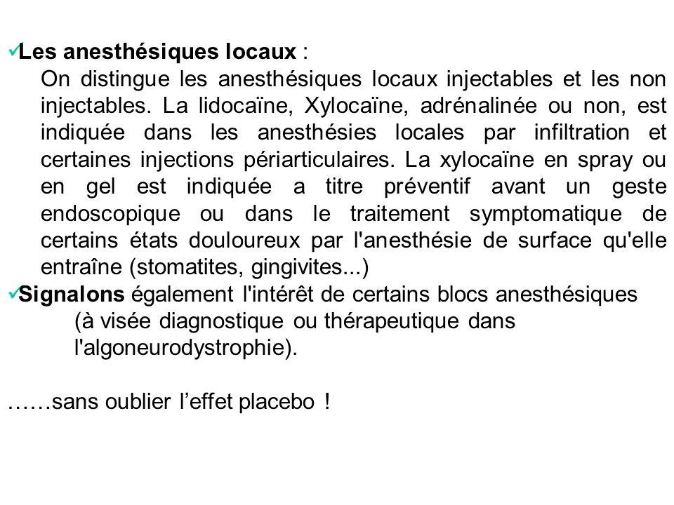 Les anesthésiques locaux :