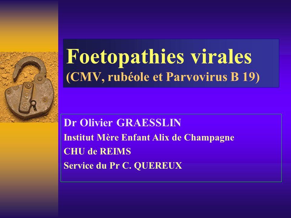 Foetopathies virales (CMV, rubéole et Parvovirus B 19)