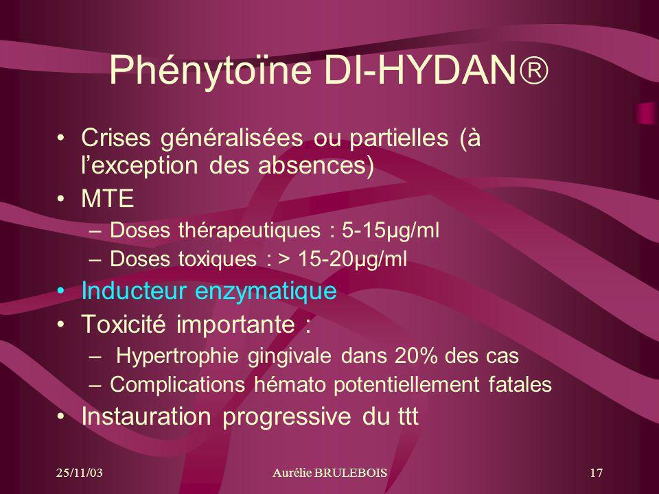 Phénytoïne DI-HYDAN Crises généralisées ou partielles (à l'exception des absences) MTE. Doses thérapeutiques : 5-15µg/ml.