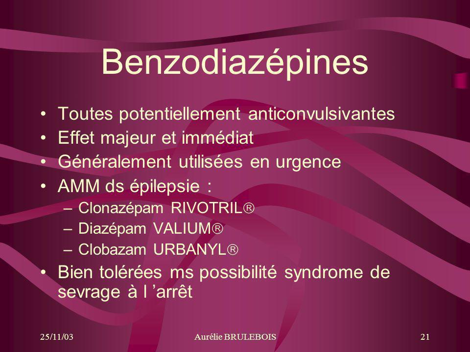 Benzodiazépines Toutes potentiellement anticonvulsivantes