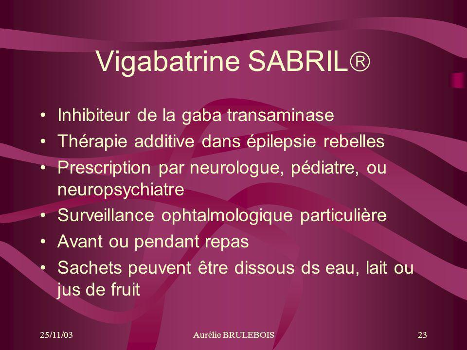 Vigabatrine SABRIL Inhibiteur de la gaba transaminase