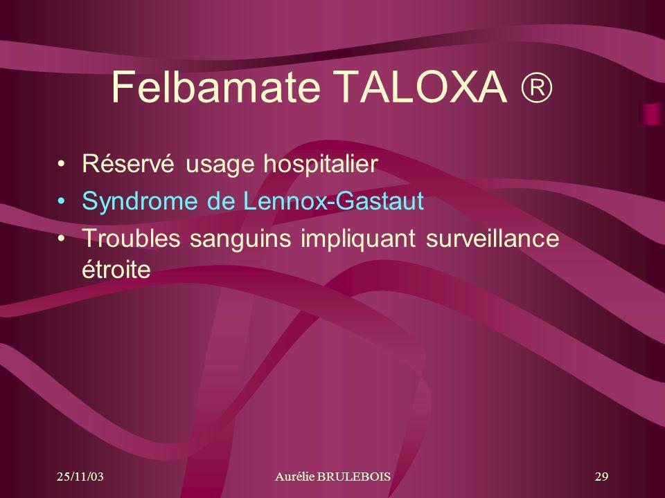Felbamate TALOXA  Réservé usage hospitalier