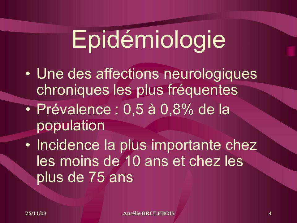 Epidémiologie Une des affections neurologiques chroniques les plus fréquentes. Prévalence : 0,5 à 0,8% de la population.