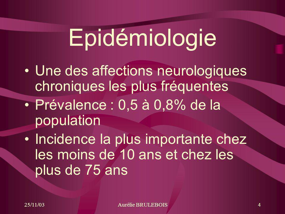 EpidémiologieUne des affections neurologiques chroniques les plus fréquentes. Prévalence : 0,5 à 0,8% de la population.