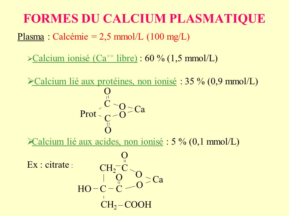FORMES DU CALCIUM PLASMATIQUE