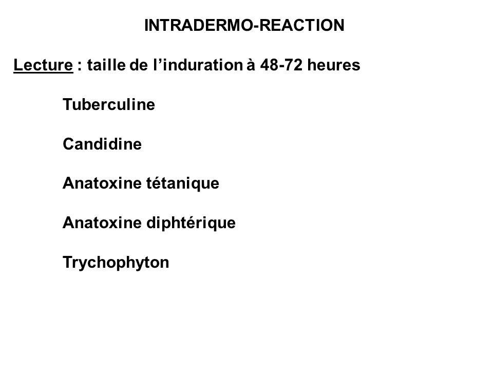 INTRADERMO-REACTIONLecture : taille de l'induration à 48-72 heures. Tuberculine. Candidine. Anatoxine tétanique.