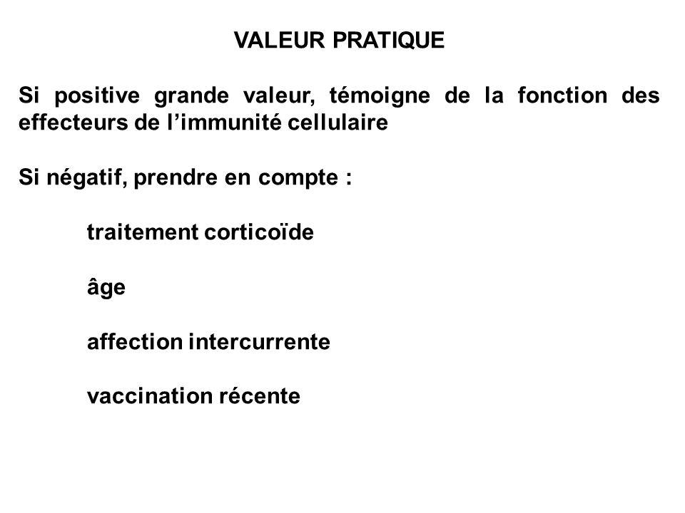 VALEUR PRATIQUESi positive grande valeur, témoigne de la fonction des effecteurs de l'immunité cellulaire.