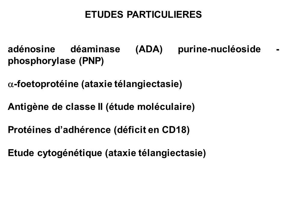 ETUDES PARTICULIERESadénosine déaminase (ADA) purine-nucléoside -phosphorylase (PNP) a-foetoprotéine (ataxie télangiectasie)