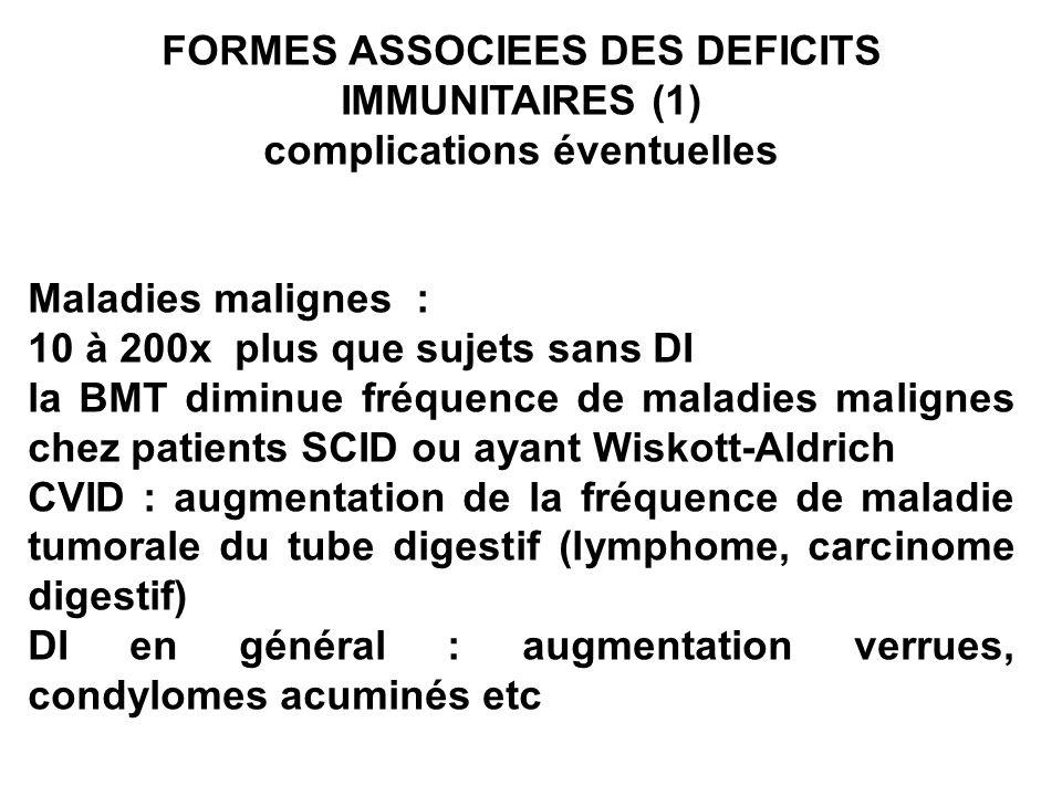 FORMES ASSOCIEES DES DEFICITS IMMUNITAIRES (1)