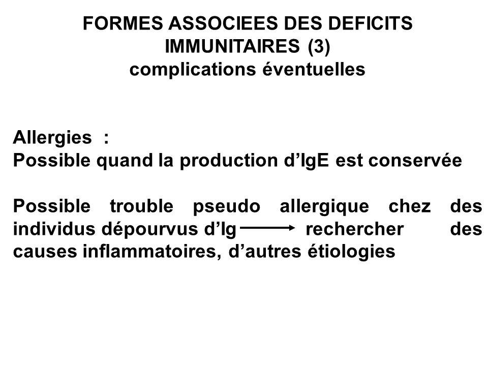 FORMES ASSOCIEES DES DEFICITS IMMUNITAIRES (3)