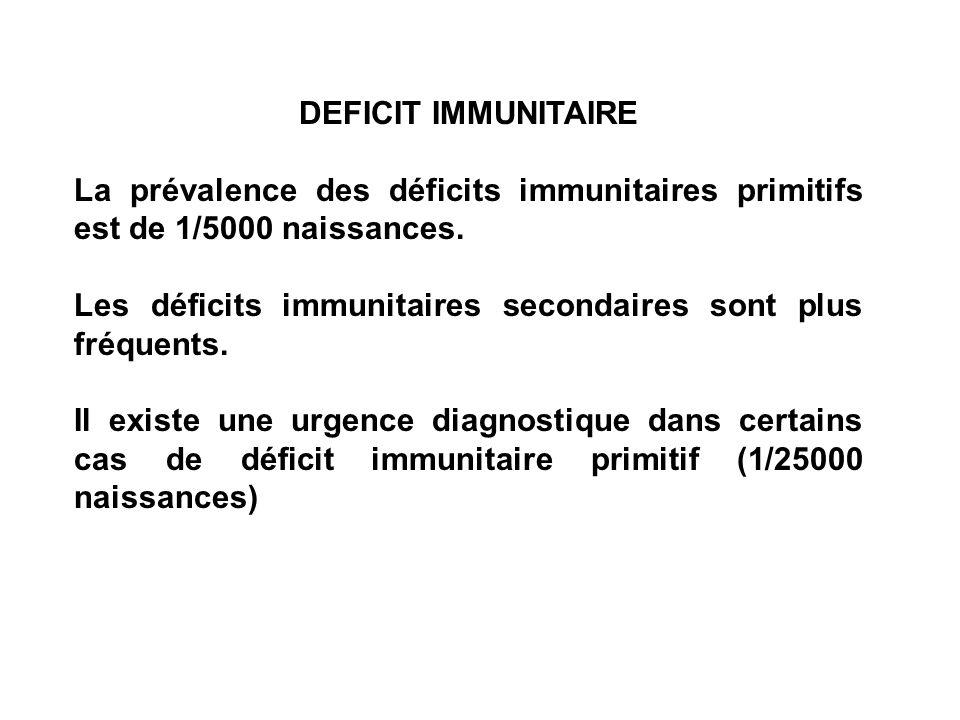 DEFICIT IMMUNITAIRELa prévalence des déficits immunitaires primitifs est de 1/5000 naissances.