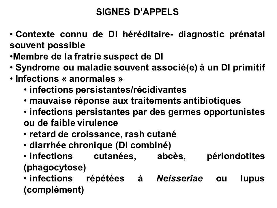 SIGNES D'APPELSContexte connu de DI héréditaire- diagnostic prénatal souvent possible. Membre de la fratrie suspect de DI.