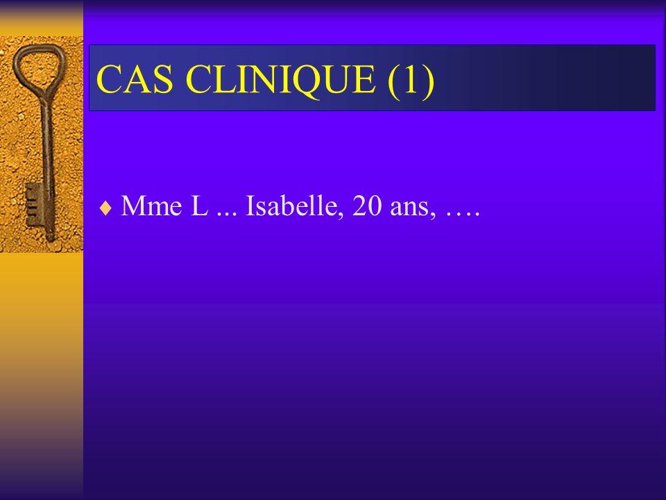 CAS CLINIQUE (1) Mme L ... Isabelle, 20 ans, ….