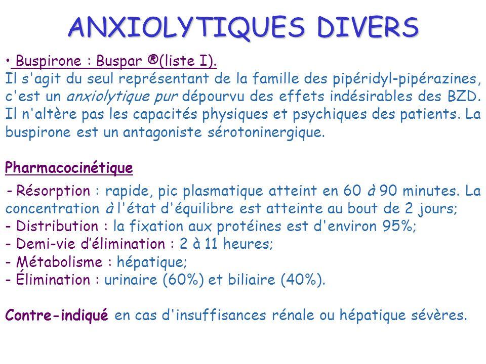 ANXIOLYTIQUES DIVERS Buspirone : Buspar ®(liste I).