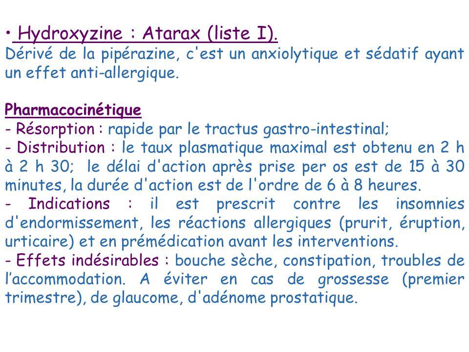 Hydroxyzine : Atarax (liste I).