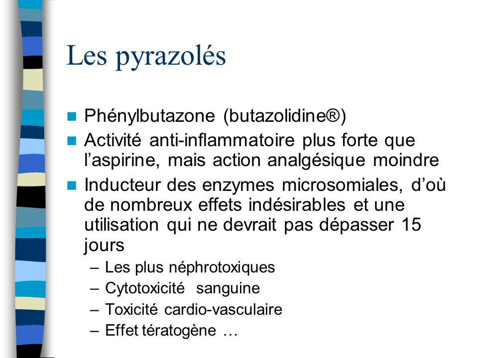 Les pyrazolés Phénylbutazone (butazolidine®)