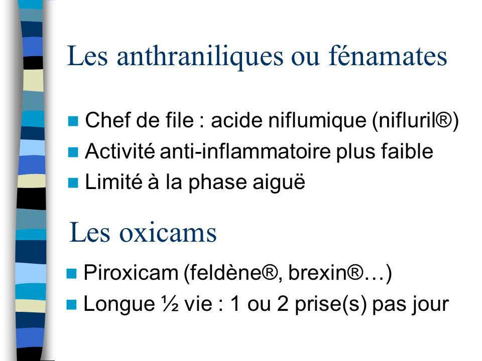 Les anthraniliques ou fénamates