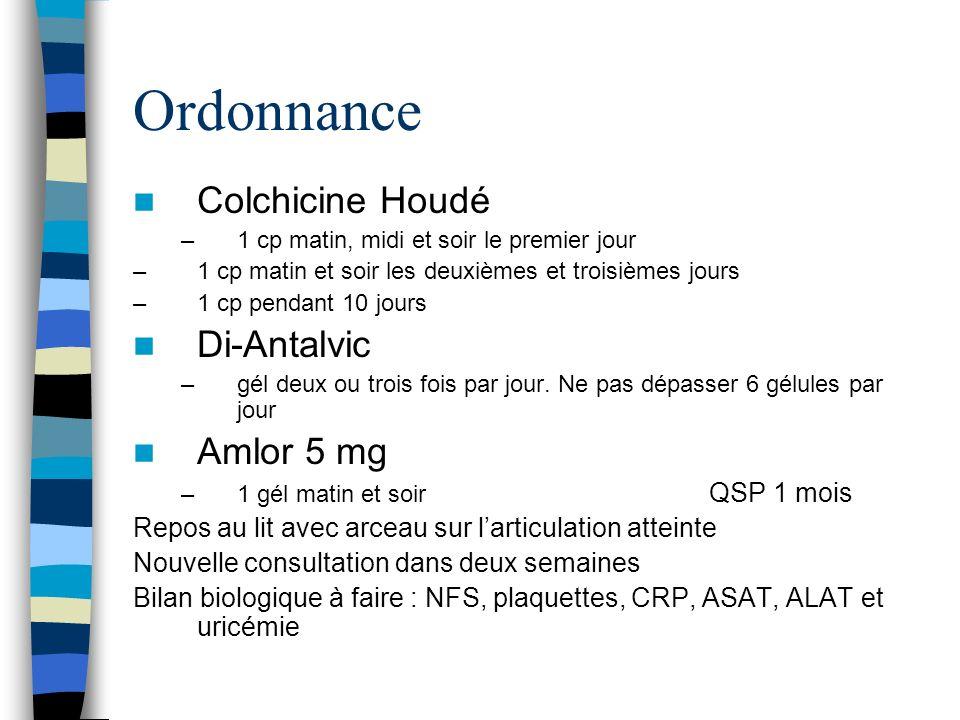 Ordonnance Colchicine Houdé Di-Antalvic Amlor 5 mg