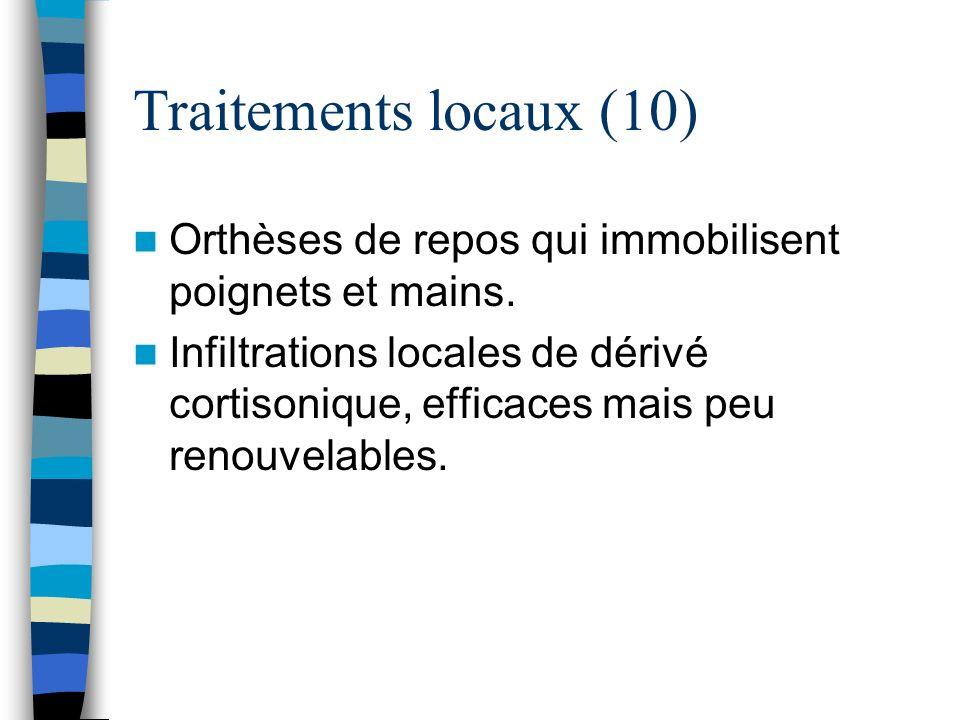 Traitements locaux (10) Orthèses de repos qui immobilisent poignets et mains.