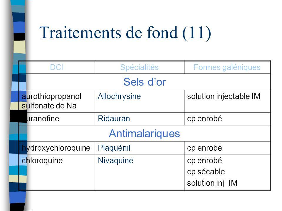 Traitements de fond (11) Sels d'or Antimalariques DCI Spécialités