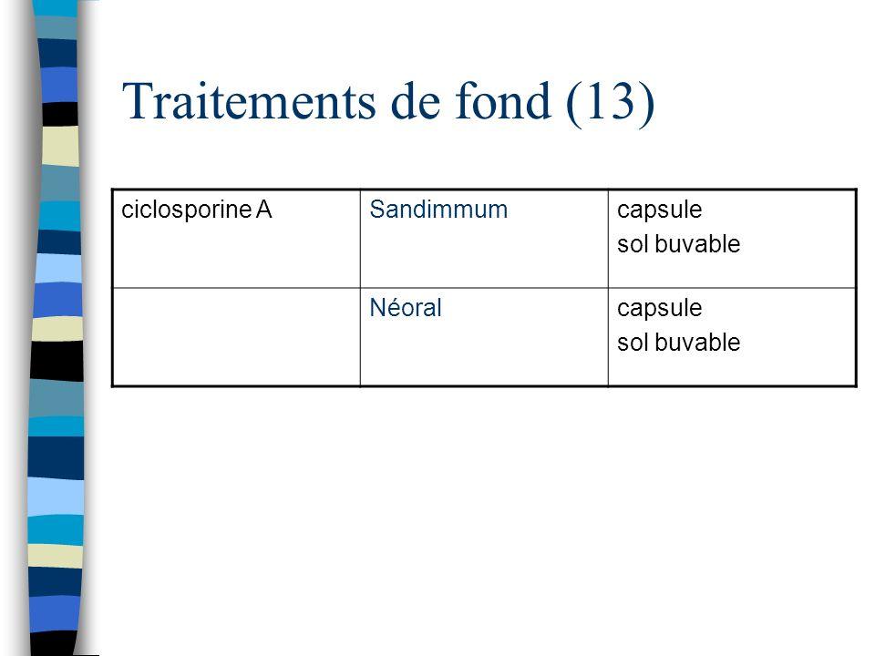Traitements de fond (13) ciclosporine A Sandimmum capsule sol buvable