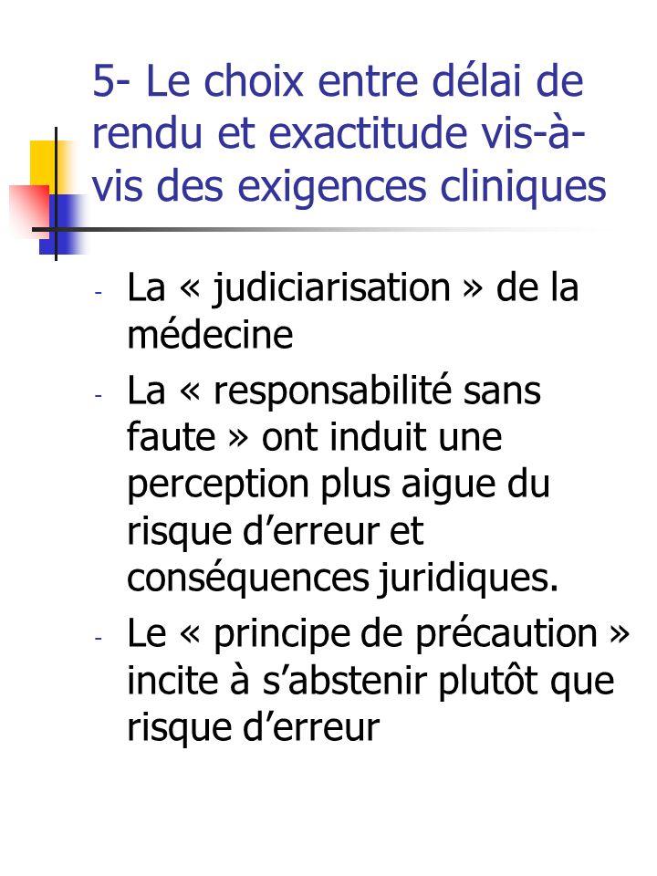 5- Le choix entre délai de rendu et exactitude vis-à-vis des exigences cliniques