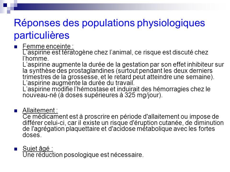 Réponses des populations physiologiques particulières
