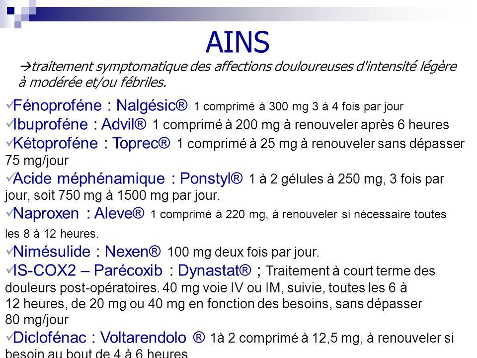 AINS Fénoproféne : Nalgésic® 1 comprimé à 300 mg 3 à 4 fois par jour