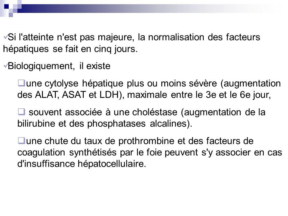 Si l atteinte n est pas majeure, la normalisation des facteurs hépatiques se fait en cinq jours.