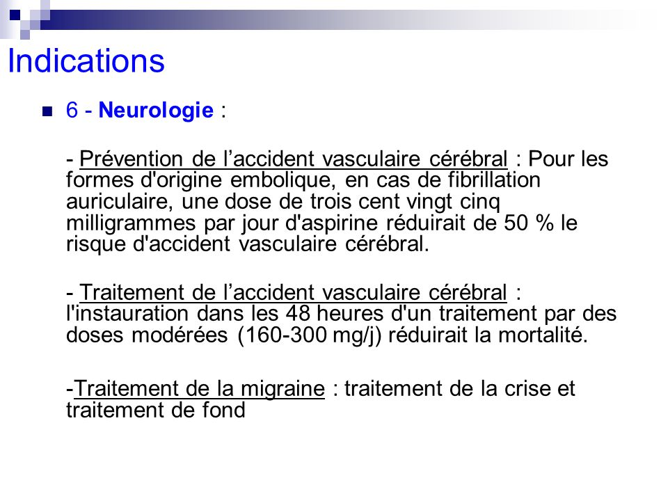 Indications 6 - Neurologie :