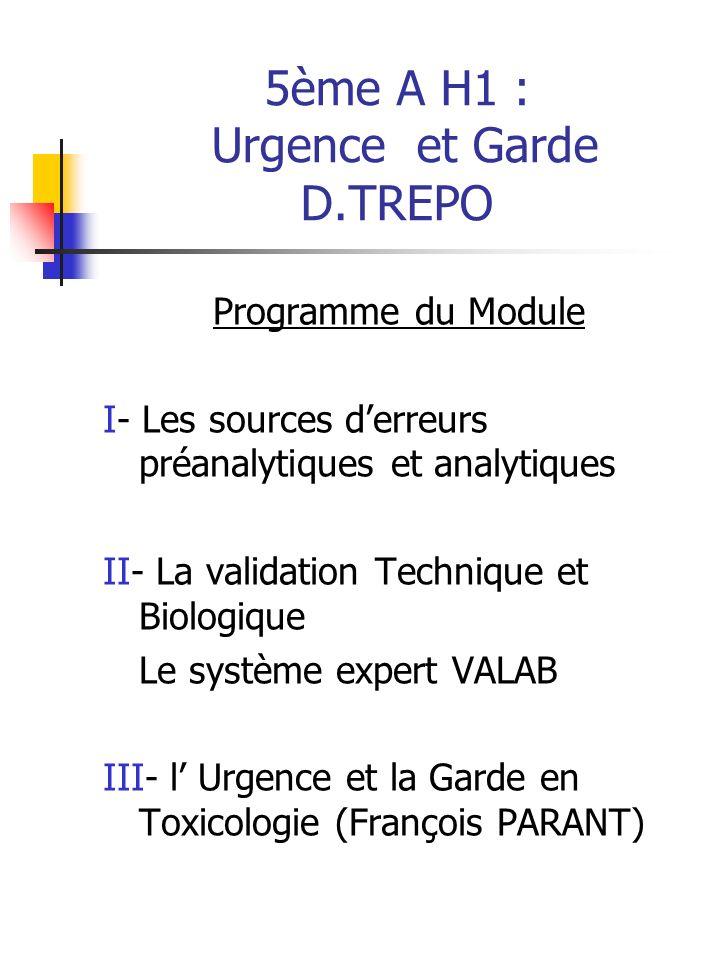 5ème A H1 : Urgence et Garde D.TREPO
