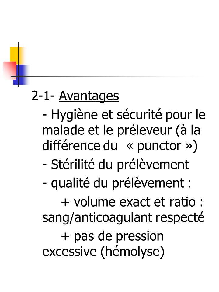 2-1- Avantages - Hygiène et sécurité pour le malade et le préleveur (à la différence du « punctor »)